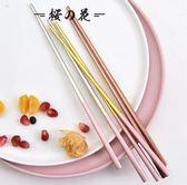葡萄牙鏡面304不銹鋼筷子家用防滑防燙筷子方形筷子實用筷黑金筷【櫻花本鋪】