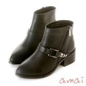 amai個性鉚釘皮帶粗跟短靴 黑