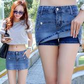 新款牛仔短褲女夏修身顯瘦假兩件韓版彈力熱褲子潮 DN6556【VIKI菈菈】
