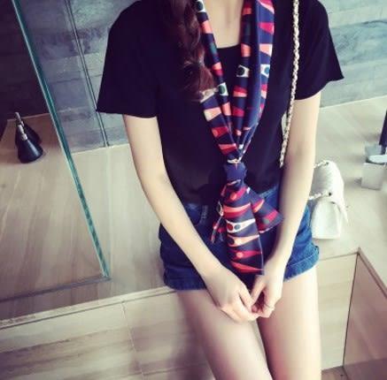 [協貿國際]  女士春季裝飾百搭小圍巾夏季短絲巾綢緞領巾 (1入)