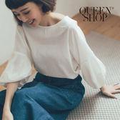 Queen Shop【01096315】澎澎袖造型棉麻上衣 兩色售*現+預*