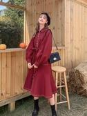 風衣MG小象秋裝女2020新款紅色中長款風衣小個子流行工裝外套翻領大衣 LX新品