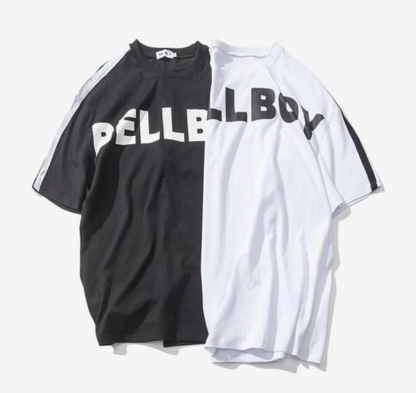 找到自己品牌 男 時尚潮流 寬鬆 休閒 BELLBOY字母印花 衣袖條紋 短袖T恤 特色短T