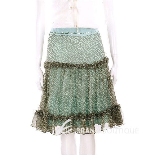 SCERVINO 綠色碎花紗質及膝裙 0620804-08