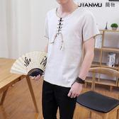 男士短袖t恤中國風棉麻