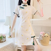 2021年新款小個子顯高復古改良版旗袍少女刺繡花朵短袖連身裙 polygirl