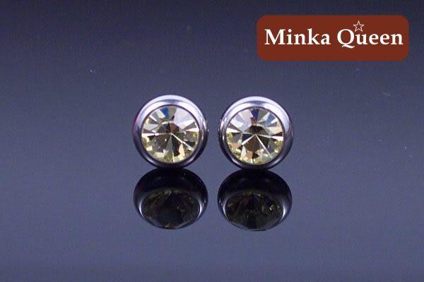 德國鈦鋼厚框包黃色精緻水鑽抗敏耳環(一對)(8 mm)