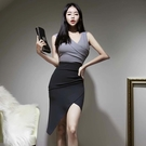 無袖洋裝小禮服 2021新款韓版輕熟風名媛V領修身無袖性感拼色不規則包臀連身裙女