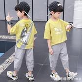 童裝男童夏裝套裝2021新款夏季男孩洋氣兩件套夏天帥氣兒童短袖潮 美眉新品