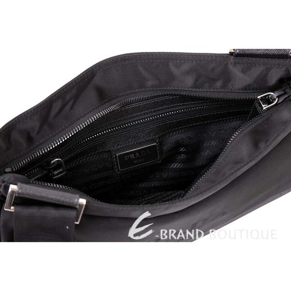 PRADA Tessuto Saffiano 三角牌單釦設計尼龍肩背包(黑色) 1740008-01