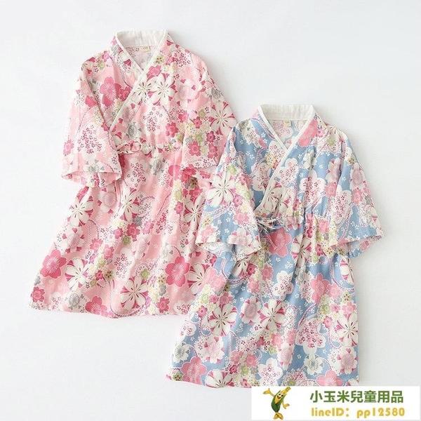 女童睡衣和風睡衣紗布日式和服短袖睡裙兒童漢服親子母女裝【小玉米】