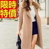 毛呢風衣 長版-復古羊毛溫暖美式女大衣外套2色62v25【巴黎精品】