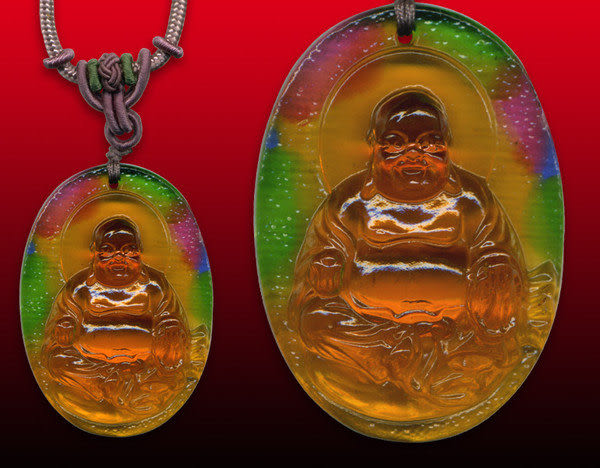 鹿港窯~居家開運水晶琉璃項鍊~歡喜彌勒佛玉佩 附精美包裝◆免運費送到家