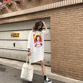 長款T 韓版OVERSIZE寬鬆中長款大版體恤裙原宿風bf嘻哈印花短袖T恤女 米蘭街頭