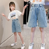 女童牛仔短褲 女童牛仔短褲夏季外穿五分褲薄款百搭兒童短褲洋氣女孩寬管褲-Ballet朵朵
