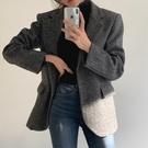 夾克.時髦女伶人字紋排扣長版西裝大衣.白鳥麗子