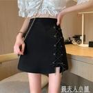 黑色交叉綁帶不規則半身裙女夏季新款潮裙子包臀高腰a字短裙「錢夫人小鋪」