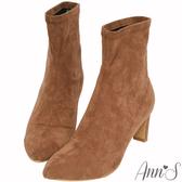 Ann'S慾望巴黎-防水絨布貼腿直跟襪靴-棕