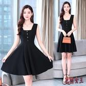 2020新款韓版流行夏方領a字裙黑色顯瘦氣質背帶OL洋裝 LF1602【花貓女王】
