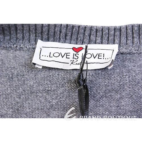 Love Sex Money-LOVE IS LOVE 灰色菱格心型圖印短袖洋裝 1240410-85