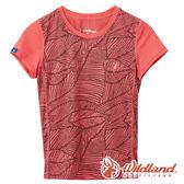 【wildland 荒野】中童 彈性棉感抗UV印花衫『瑪瑙紅』0A61660 T恤 上衣 休閒 戶外 登山 印花