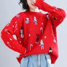 簡約印花 寬鬆 針織上衣 A031a ◆ 韓妮小熊