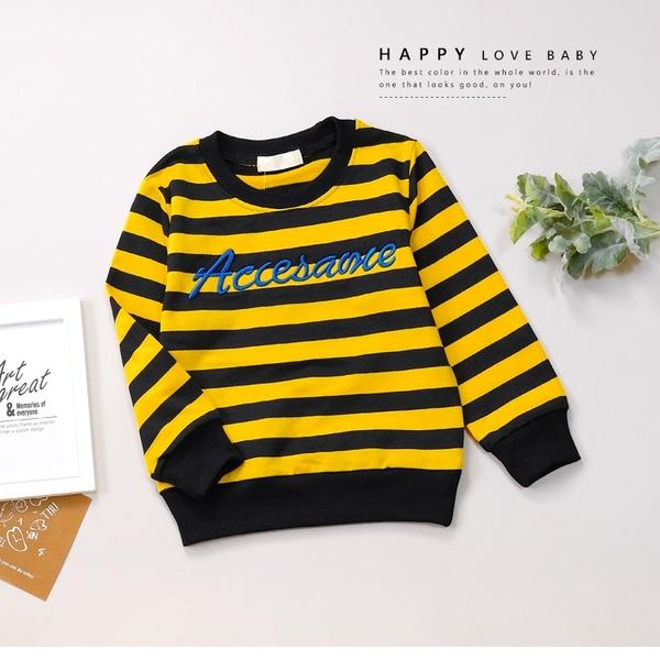 個性美式黃黑條紋英文刺繡大學T 長袖 上衣 毛圈內裡 男童上衣 男童裝 女童裝 上衣 童裝