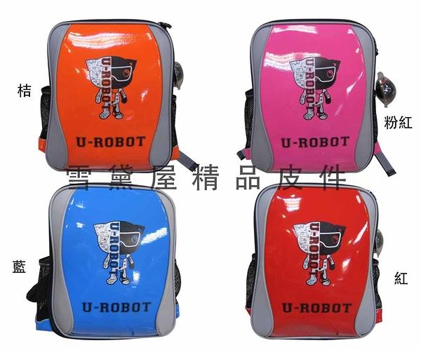 ~雪黛屋~UNME-U-ROBOT後背書包專業保護肩帶特殊高密度泡棉質台灣製造保證附品牌捲低幼年級U3243