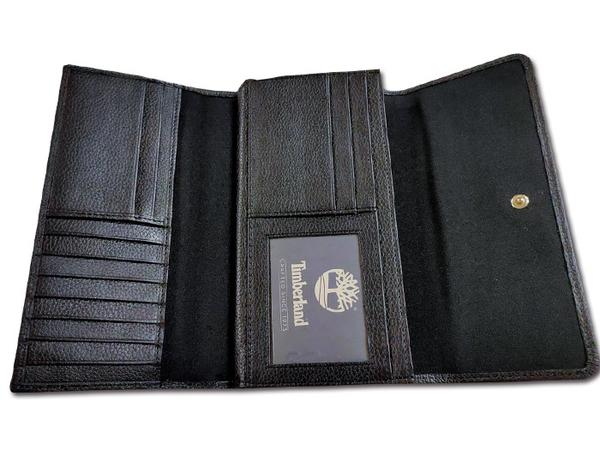 【Timberland】女皮夾 長夾 牛皮夾 上翻暗扣錢包 多卡夾+拉鍊零錢袋 手拿包/黑