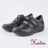 kadia.魔鬼氈楔型休閒鞋(8952-90黑色)