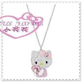 ♥小花花日本精品♥ Hello Kitty 施華洛世奇SWAROVSKI項鍊飾品 粉色側姿愛心(小)00803601