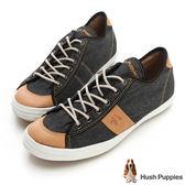 Hush Puppies 沉穩質感咖啡紗休閒鞋-黑灰