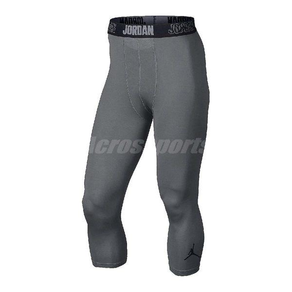 Nike 緊身褲 23 Pro Dry 3/4 緊身 長褲 束褲 內搭 七分褲 飛人 喬丹 Jordan 男 灰黑 【PUMP306】 724777-065