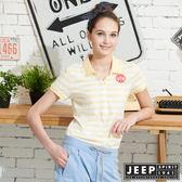 【JEEP】女裝經典條紋吸濕排汗POLO衫-黃色