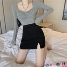 熱賣短裙 2021春季新款性感半身裙高腰裙子顯瘦短裙A字開叉包臀裙女裝 coco