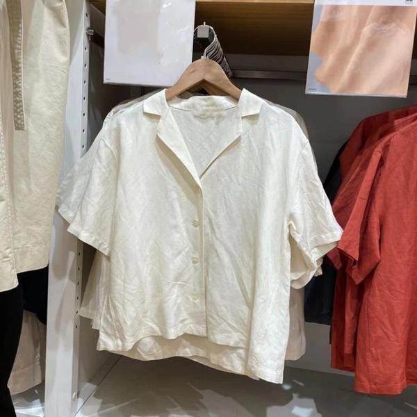 U家2021夏裝新款設計感復古寬鬆麻混紡開領短袖棉麻襯衫女435018陽光好物