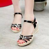 坡跟凉鞋女厚底高跟鞋中跟女鞋