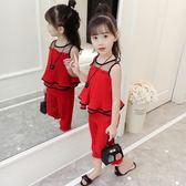 童裝女童夏裝新款韓版時髦套裝寶寶洋氣兒童雪紡兩件套潮衣服  9號潮人館