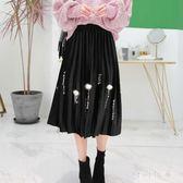 金絲絨半身裙女2018新款韓版釘珠A字中長裙大碼胖MM百褶裙zzy7497 『時尚玩家』