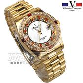 valentino coupeau 范倫鐵諾 滿天星鑽 不鏽鋼 防水手錶 男錶 金色 鑲鑽 經典 放大日期 V1217K紅金大