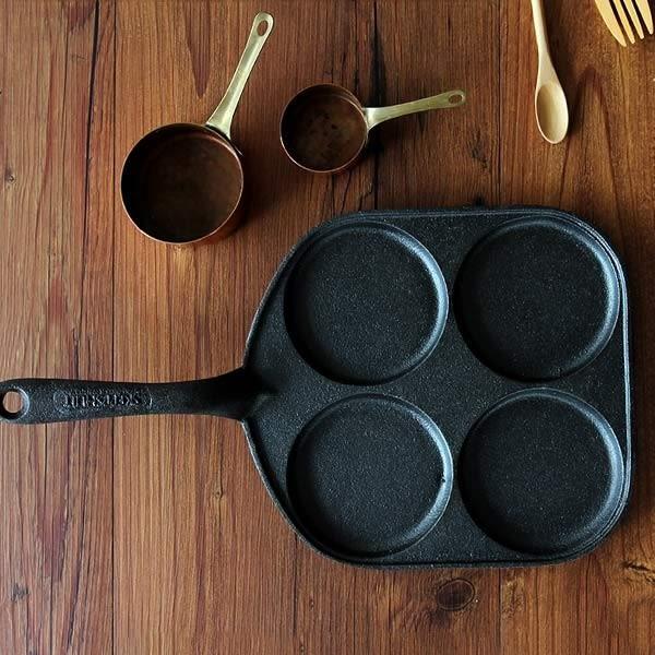 瑞典Skeppshult 20x22cm 鑄鐵 單柄4格 鬆餅鍋 蛋鍋 鐵柄 (0019)