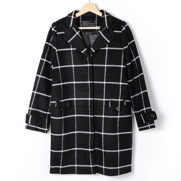 【MASTINA】格紋毛呢西裝長大衣-黑  外套限時特賣