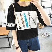 短袖針織衫-時尚簡約文具印花女T恤73hn63【時尚巴黎】