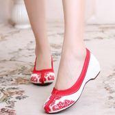春夏新款老北京布鞋女中國風繡花鞋民族風內增高女鞋漢服鞋子