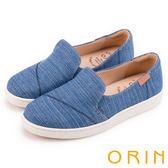 ORIN 俏麗女孩 素面斜邊縫線造型平底便鞋-藍色