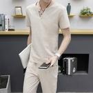 [超豐國際]夏季亞麻套裝男裝棉麻短袖t恤...