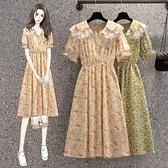 洋裝甜美裙子中大尺碼L-4XL洋氣顯瘦中長款碎花裙收腰印花雪紡連身裙子2F070-8171.皇潮天下