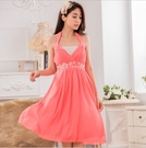 中大尺碼洋裝 L-3XL小禮服韓版雪紡V領縫鑽無袖連衣裙 粉色 #gk9632 @卡樂@