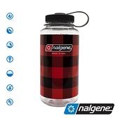 【美國 Nalgene】大寬口水壺1000c.c『紅色格子』682020 戶外 隨身水壺 環保水壺 運動水壺 輕量水壺