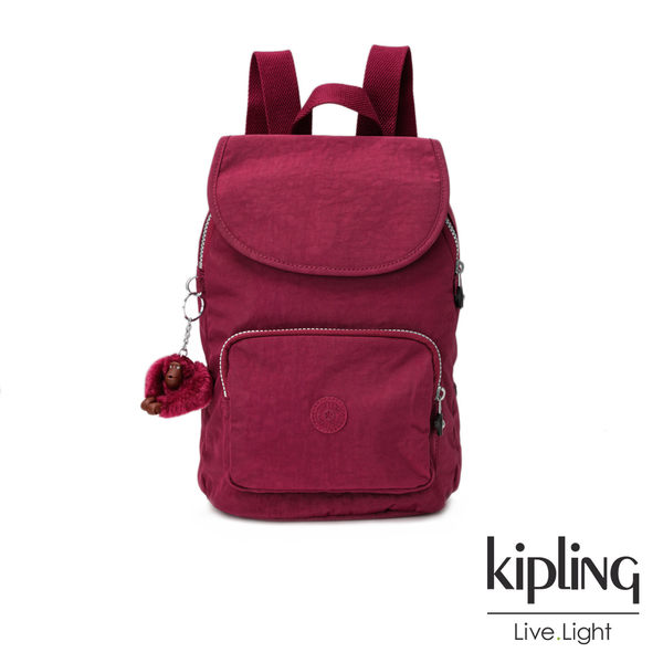 莓紫素面後背包(中)